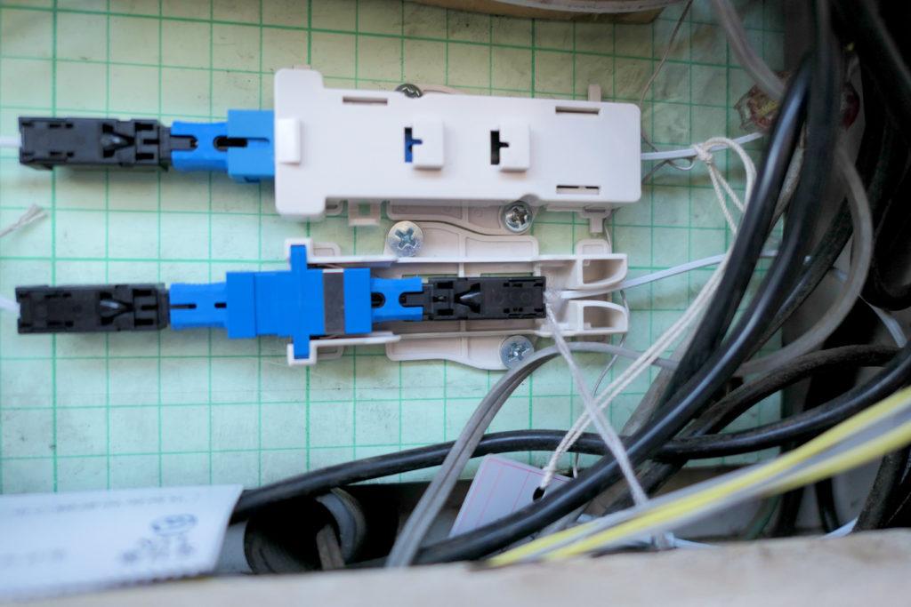 NURO光屋外工事MDF光ケーブル接続後