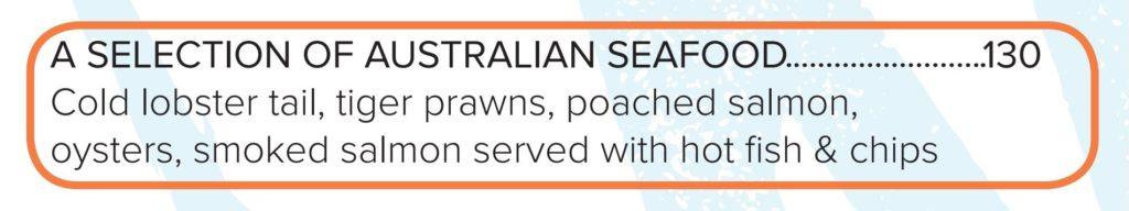 厳選オーストラリアンシーフードメニュー