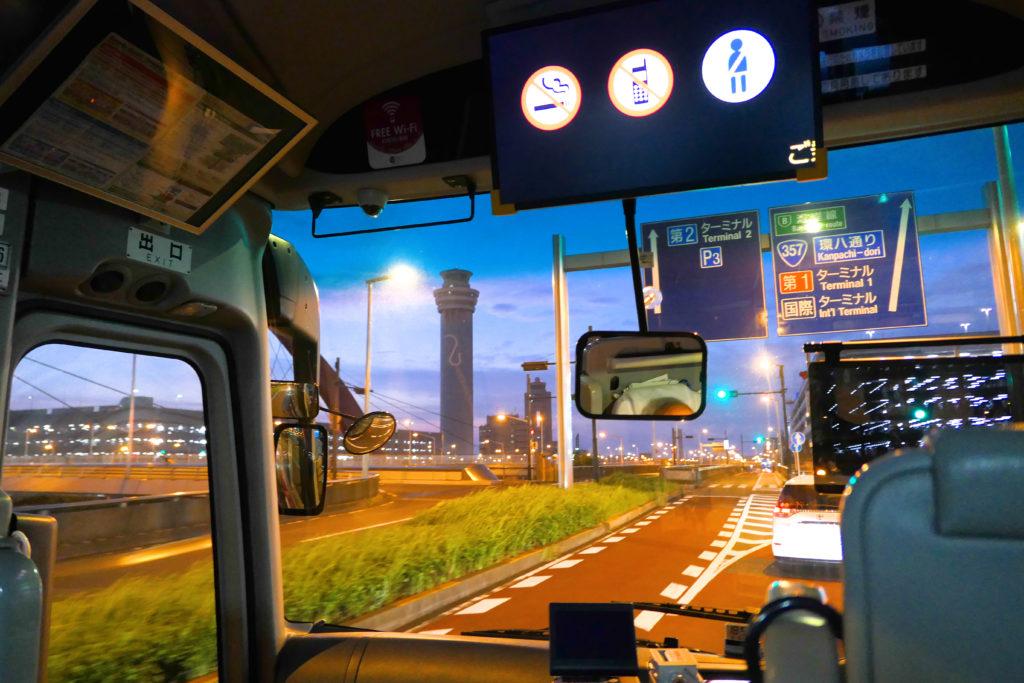 YCATから羽田空港までバス 夜景