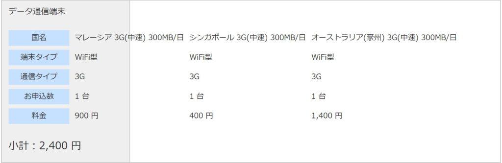 グローバルWiFi3G(中速)300MB/日 データ通信端末