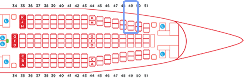 エアアジアエアバスA330タイプAA330NEOシートマップツインシート49H49K
