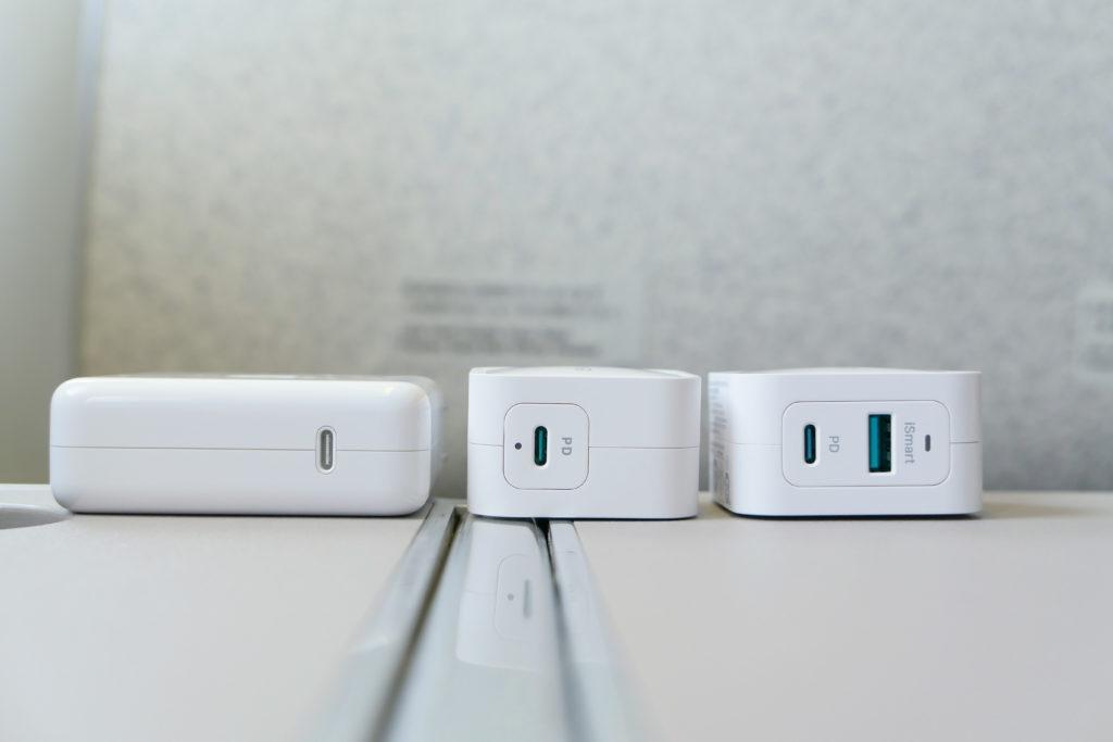 Apple純正96W電源アダプタ(MX0J2AM/A)RAVPower61W電源アダプタ(RP-PC112)RAVPower65W電源アダプタ(RP-PC133)比較 コネクタ