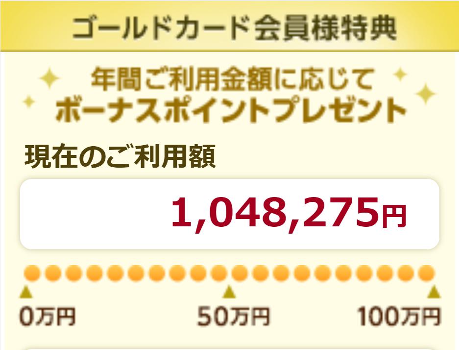 エポス 年間ご利用金額100万円パソコン画面