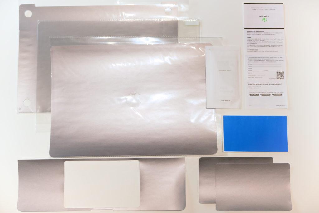 LENTION 16インチMacBook Pro 2019 全面保護シルバースキンシール 液晶保護フィルム 5テンセット 3M技術4H硬度(スペースグレイ)同梱物一覧